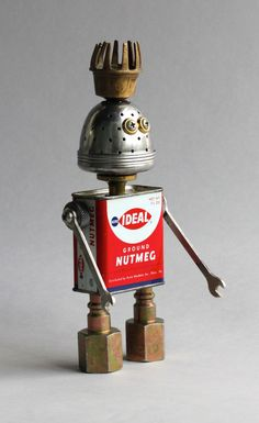Nutmeg - Found Object Robot Assemblage Sculpture By Brian Marshall