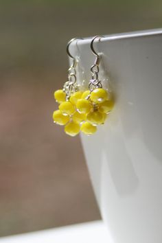 Cluster Dangle Earrings with Opaque Yellow by creationsbycandice