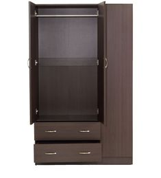 Buy Nashiro Three Door Wardrobe with Two Drawers in Chocolate Beech Finish by Mintwud Online - Modern 3 Door Wardrobes - Modern 3 Door Wardrobes - TEST - Pepperfry Product How To Clean Furniture, Steel Furniture, Modern Furniture, Furniture Design, Furniture Ideas, Bedroom Cupboard Designs, Bedroom Cupboards, Modern Wardrobe, Wardrobe Design