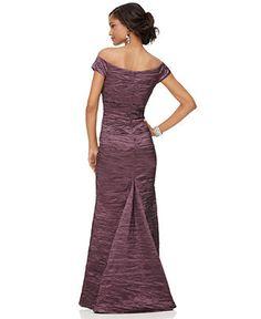 Alex Evenings Dress, Off The Shoulder Taffeta Evening Gown - Womens Dresses - Macy's