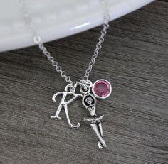 Ballet Necklace, Ballerina Necklace, Personalized Gift for Girls, Silver Ballet Necklace, Personalized Ballet Charm Necklace, Letter K, Pink