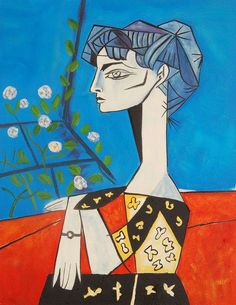 By Pablo Picasso, Jacqueline con fiori, Pablo Picasso, Art Picasso, Picasso Paintings, Henri Matisse, Arte Peculiar, Illustrator, Art Moderne, Famous Artists, Art And Architecture
