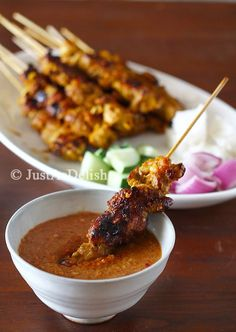 Satay - grilled marinated skewered meat with spicy peanut sauce. The epitome of Malaysian Street Food. @Shannon Bellanca Bellanca Lim