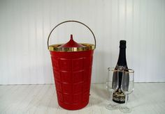 Retro Atomic Red & Gold Trim Champagne Ice Bucket  by DivineOrders - Valentine's Day Gift Ideas available in www.DivineOrders.Etsy.com