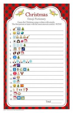 christmas games WELCOME to SunnysideCottageArt and thank you for stopping by! PLEASE take a moment and read the information below. INSTRUCTIONS: Guests try to guess the Christmas songs depicted by the emojis. The first person with the most correct wins. Christmas Party Activities, Xmas Games, Printable Christmas Games, Holiday Games, Holiday Parties, Holiday Fun, Christmas Games For Women, Office Holiday Party Games, Office Christmas Party Games