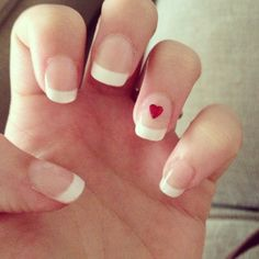Wedding nails, French manicure with red heart studs from diynails.co.uk