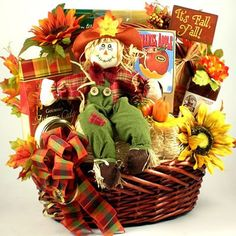 Another look at a Fall Themed Gift Basket.  Love the scarecrow                                                                                                                                                                                 More