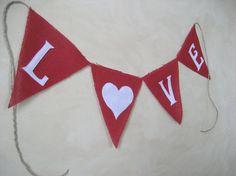 Red Burlap LOVE Banner Valentine's Day