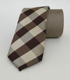 Brown and Beige Mens Tie 6 cm (2,36 #handmadeatamazon #nazodesign