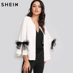 Gender: Women Item Type: Blazers Collar: None Pattern Type: Solid Sleeve Length(cm): Three Quarter Model Number: blazer171107702 Style: Casual Brand Name: SheIn Material: Spandex,Polyester Decoration: Bow Hooded: No Closure Type: None Clothing Length: Regular UID: 171208221 Fabric: Fabric has no stretch Season: Spring, Fall Material: 96% Polyester, 4% Spandex Fit Type: Regular Fit