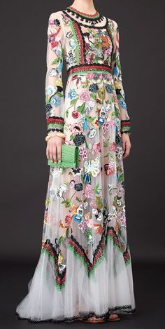 Valentino Resort 2015, embroidery and crochet.  The end of the hems and sleeves are lace crochet.