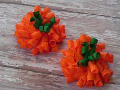 2 Pumpkin Korker Hair Bows - Halloween, Thanksgiving, Autumn - Orange, Green - Piggy, Ponytails - Jack-o-Lantern - by sweetteabowtique. $4.50, via Etsy.