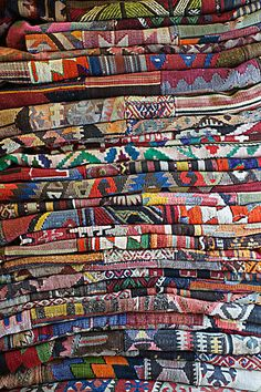"I want this pretty pile. Tis beauty truly blent...then piled...""Pile of Turkish Kilims"""
