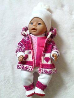 Puppenkleidung- Herzen  pink-rot 5 tlg. -f. Baby Born, Krümel, Puppen 43 cm -NEU