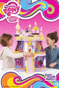 There's a party for every pony at the Canterlot Castle play set! Your Princess Celestia and Spike the Dragon figures are the hosts of the best parties around at their castle. This tower of My Little Pony fun is three stories tall and it has a real working elevator to bring all the ponies (sold separately) to the second and third floors. Or any pony can trot right up the front steps to the throne!