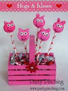 Peeps, marshmallow pops, pig marshmallow pops, hogs & kisses, valentine's day treat for kids, valentine's day dessert for kids