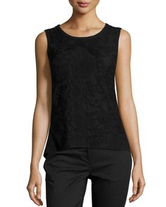 Laundry by Shelli Segal Embroidered Combo Tank, Black, Women's, Size: 10, Black 001