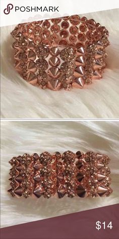Rose Gold Spiked Bracelet!' Beautiful Rose Gold Bracelet! Spiked with added bling affect. Comes also in silver and Gunmetal. Price is Firm unless Bundled. Jewelry Bracelets