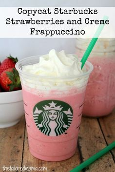 Copycat Starbucks Strawberries and Creme Frappuccino drink recipe - this is perfect if you want to DIY!