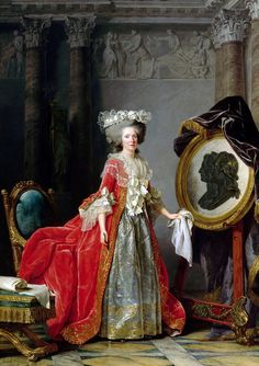 Portrait of Madame Adélaïde by Adélaïde Labille-Guiard (French, 1787). Oil on canvas. Palace of Versailles. The three profiles are, from left to right: the Dauphin (brother of Mme Adélaïde), Marie Leczinska (mother of Mme Adélaïde), and Louis XV (father of Mme Adélaïde).