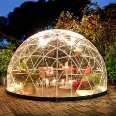 Garden Igloo 360 Garden Gazebo Product description Stylish conservatory, children's play room, greenhouse or gazebo. The Garden Igloo can do all of this. Landscape Nursery, Bubble Tent, Hot Tub Cover, Dome Tent, Geodesic Dome, Unique Gardens, Urban Farming, Outdoor Lighting, Lighting Ideas