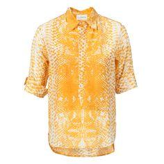 Cotton Silk Blouse Yellow White Handprinted ATELIERAMSTRDM 2015