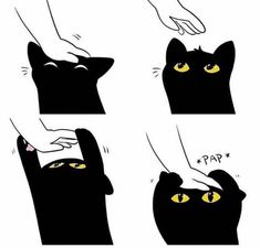 Image uploaded by Find images and videos about black, cat and kawaii on We Heart It - the app to get lost in what you love. I Love Cats, Crazy Cats, Cute Cats, Animals And Pets, Funny Animals, Cute Animals, Animal Drawings, Cute Drawings, Cute Comics
