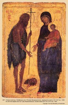 Saint John the Baptist and the Virgin and Child.Size: 101 x 67 cm. Very unusual icon. Byzantine Icons, Byzantine Art, Religious Icons, Religious Art, Madonna, Russian Icons, Biblical Art, Roman Art, John The Baptist