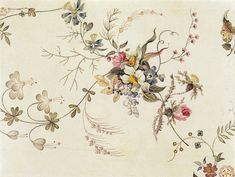 Textile design, by William Kilburn (1745-1818). Watercolour. England, late 18th century.