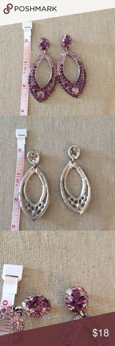 Earrings Very beautiful sparkle earrings in light/dark purple please note right pair is missing one stone at the left top side and the left pair is missing 2very small stones at the bottom which is really not noticeable at all Accessories