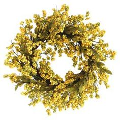 Faux Golden Yellow Berry Wreath