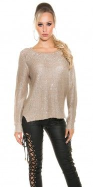 Trendy glitter pullover with chain and loop