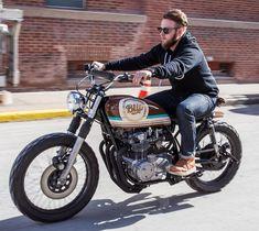On BikeBound.com: @bliproasters #CB550 built with @anchormoto of Kansas City MO. Love this vintage motocross bars! :: #hondacb #tracker #bratbike