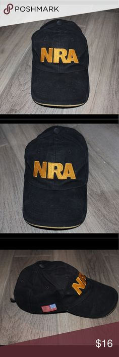 """Black NRA hat Black NRA hat with """"NRA"""" in front and on the velcro closing on back with American flag on the side Accessories Hats"""