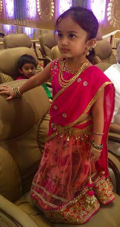 Pink Half saree Kids Indian Wear, Indian Girls, Little Girl Dresses, Girls Dresses, Baby Dresses, Baby Girl Fashion, Kids Fashion, Pink Half Sarees, Kids Blouse Designs