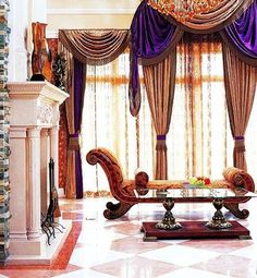 Luxury Home Design:Gold, purple and red combination Curtain Styles, Curtain Designs, Curtain Ideas, Curtains Living, Drapes Curtains, Bedroom Curtains, Luxury Homes Interior, Home Interior Design, Contemporary Curtains