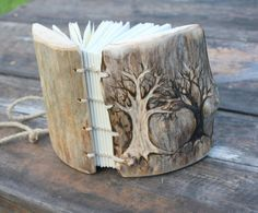Miniature book with rustic carved wood covers