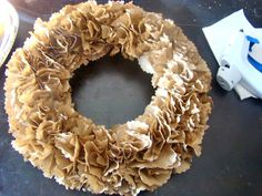 lunch bag wreath...add some hydrangeas and have a happy spring door!!!