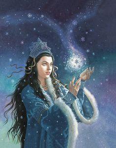 This reminds me of a Winter/snow enchantress :)    [djevojka:      Ruth Sanderson, The Snow Princess]