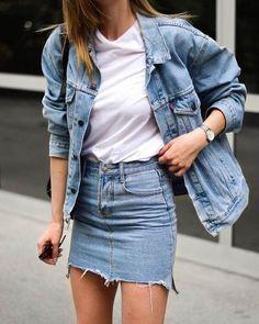 denim skirt Spring | Summer | Denim | Denim on Denim | White shirt | Casual | Denim skirt | Inspiration | More on Fashionchick...