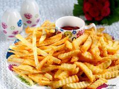 najlepsze-frytki-domowe Onion Rings, Chips, Ethnic Recipes, Food, Kitchens, Potato Chip, Essen, Meals, Potato Chips