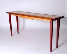 Hall Table,  Purpleheart, Teak, Curly Maple, Birdseye Maple, For Sale Contact 541-556-8280