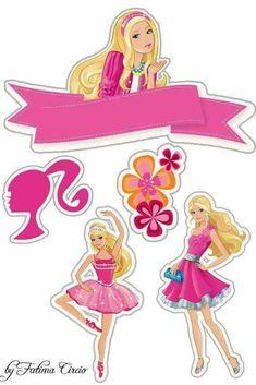 Barbie Birthday Cake, Barbie Theme, Ballerina Birthday Parties, Barbie Cake, Barbie Party, Barbie Dolls, Barbie Stuff, Bolo Barbie Paris, Cupcake Toppers Free