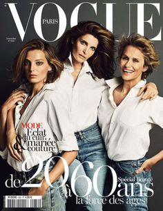 Ageless Beauty class:  Daria Werbowy, Stephanie Seymour, Lauren Hutton in classic white button0downs and faded jeans