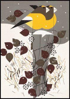 Evening Grosbeaks  by, Charley Harper