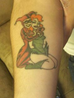 Harley Quinn With Poison Ivy Tattoo Design For Sleeve