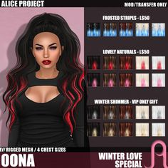 One Free Hairstyle Every Day Second Life Freebies.In the Valentine theme, one hairstyle is given away for free every day. Touch the free giftbox under . Second Life Avatar, Life Online, Valentine Theme, Winter Love, Free Hair, Free Gifts, Alice, Hairstyle, Fantasy Characters