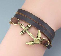 Big Anchor bracelet Leather bracelet,Black.Brown cow leather bracelet,real cow leather,Fashion jewelry,Men bracelet Women jewelry,Christmas gift for he/her,Size is adjustable.Wholesale or retail.