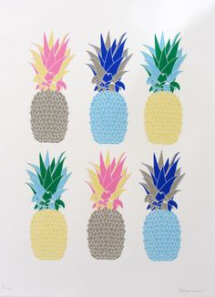 Multicoloured Pineapple Screenprint www.marklessdesign.com