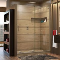 DreamLine Mirage-X 44 in. to 48 in. x 72 in. Semi-Framed Sliding Shower Door in Brushed Nickel-SHDR-1948723R-04 - The Home Depot